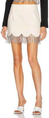 Area Scalloped Crystal Hem Mini Skirt in Ivory & Clear | FWRD