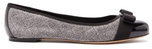 Salvatore Ferragamo Vara Quilted Metallic Boucle Ballet Flats - Womens - Black Silver