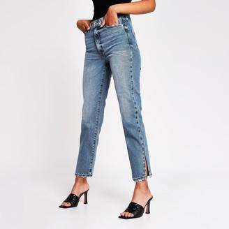 River Island Womens Blue High Rise Blair Split Hem Straight Jeans