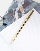 Ted Baker Gold Ballpoint Twist Pen In Gift Box
