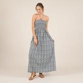 Molly Bracken Printed Strapless Maxi Dress with Halterneck