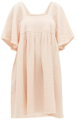 Anaak - Anneka Square-neckline Cotton-gauze Dress - Light Pink