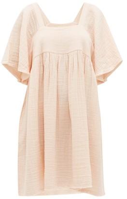 Anaak - Anneka Square-neckline Cotton-gauze Dress - Womens - Light Pink