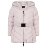 MonnaLisa MonnalisaBaby Girls Lilac Down Coat With Fur Pom Poms