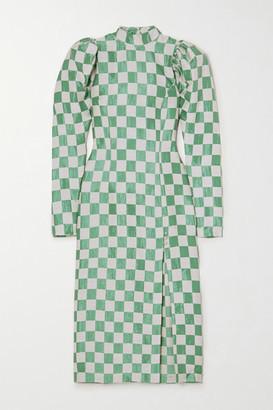 Rotate by Birger Christensen Theresa Checked Jacquard Midi Dress - Green