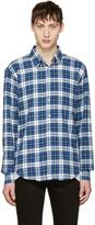 Naked & Famous Denim White & Blue Dobby Check Shirt