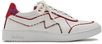 Mulberry Jumping Tartan Piping Lace-up Sneaker White and Red Tartan Fabric and Calfskin