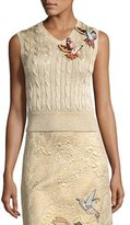 RED Valentino Cable-Knit Sweater Vest w/ Hummingbird Embroidery, Oro