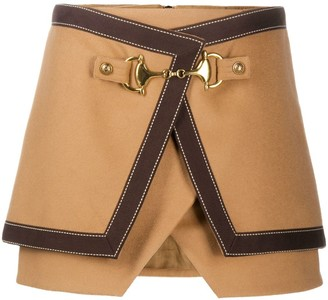 Balmain Asymmetric Buckled Mini Skirt