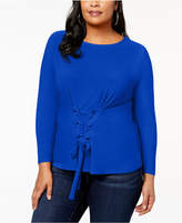 INC International Concepts Plus Size Corset-Detail Top, Created for Macy's