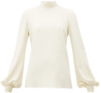 Giambattista Valli Bishop-sleeve High-neck Crepe Blouse - Womens - Ivory