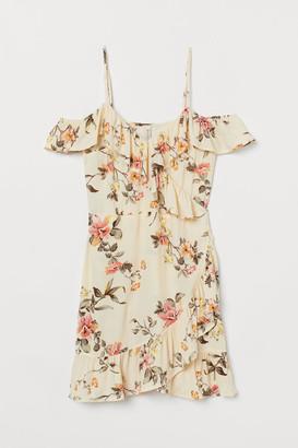 H&M Open-shoulder Dress - Beige