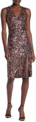 Alice + Olivia Natalie Embellished Sequin V-Neck Midi Dress
