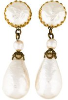 Miriam Haskell Faux Pearl Drop Clip-On Earrings