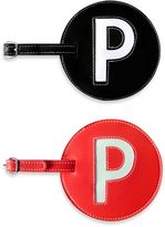 """Initial Luggage Tag """"P"""" in Black"""