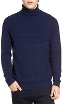 French Connection Men's Cable Stripe Turtleneck Sweater