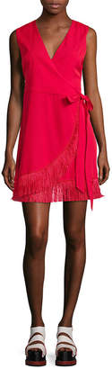 Lea & Viola Fringe Trim Wrap Dress