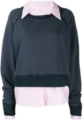 Greg Lauren poplin collar sweatshirt