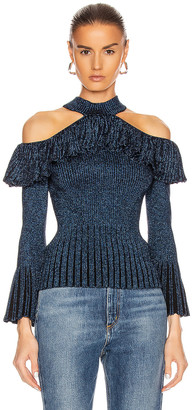 Self-Portrait Cold Shoulder Frill Knit Top in Navy | FWRD