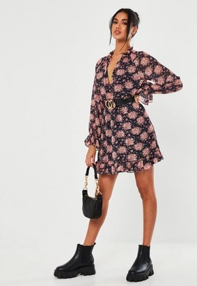 Missguided Navy Floral Print High Neck Smock Dress