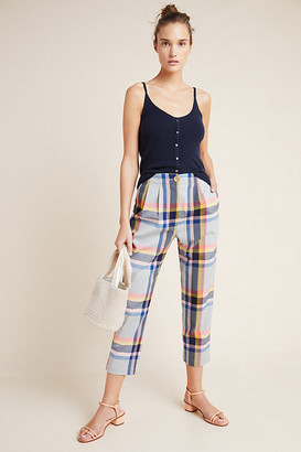 Corey Lynn Calter Plaid Trousers By in Blue Size XS