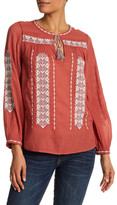 Joie Long Sleeve Embroidered Knit Blouse