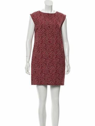 Saint Laurent Printed Mini Dress Red