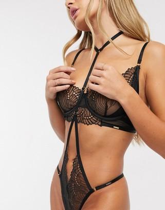 Bluebella Selmar fan lace longline unpadded bra in black