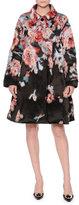 Giorgio Armani Textured Floral-Print A-Line Coat, Fantasia