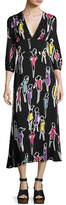 Moschino 3/4-Sleeve Fashion-Print Long Dress, Multi Pattern