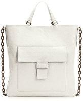 Tomas Maier Madras Front-Pocket Tote Bag, White