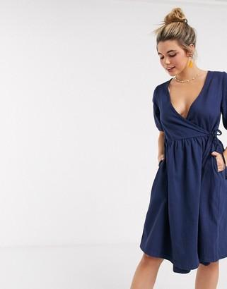 Monki Ramona denim wrap dress in dark blue