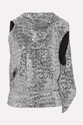 Roland Mouret Eugene Open-back Draped Sequined Crepe Top - Silver