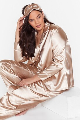 Nasty Gal Womens Plus Size 3 Piece Satin Pajama Pants Set - Champagne
