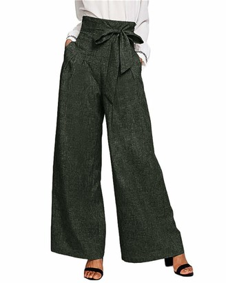 CNFIO Women Trousers High Wasit Wide Leg Work Trousers Paper Bag Trousers with Belt Wine red S