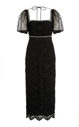 Self-Portrait Square-Neck Lace Midi Dress