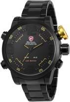 Shark Men's Sport LED Date Day Display Alarm Black Stainless Steel Analog Digital Quartz Oversized Wrist Watch SH107
