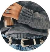 Berrygo Women's Vintage Metal Western Leather Double Buckle Belt
