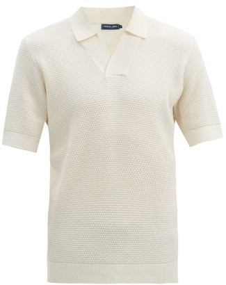 Frescobol Carioca Open-collar Textured Cotton-blend Polo Shirt - White