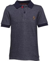Luke 1977 Little Luke Boys Tonos Contrast Collar Polo Lux Navy/Light Marl Grey