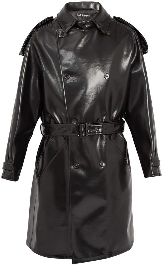 Raf Simons Double-breasted belted faux-leather trench coat
