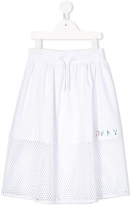 DKNY mesh detail midi skirt