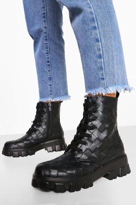 boohoo Woven Chunky Platform Hiker Boots