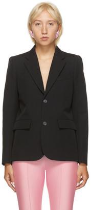 Balenciaga Black Wool Curved Shoulder Blazer