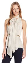 Halston Women's Sleeveless Deep V-Neck Top With Scarf and Square Link Detail