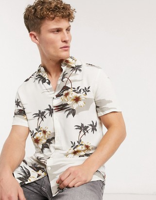 New Look short sleeve tropical floral print shirt in ecru