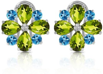 Overstock 4.85 CTW 14K Solid White Gold French Clips Earrings Peridot Blue Topaz