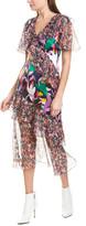 Prabal Gurung Ruffle Silk Midi Dress