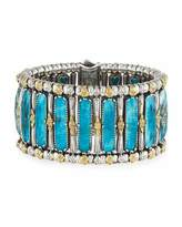 Konstantino Faceted Crystal Quartz Over Chrysocolla Cuff Bracelet
