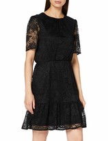 Dorothy Perkins Black Lace Detail Fit And Flare Dress Vestito Donna